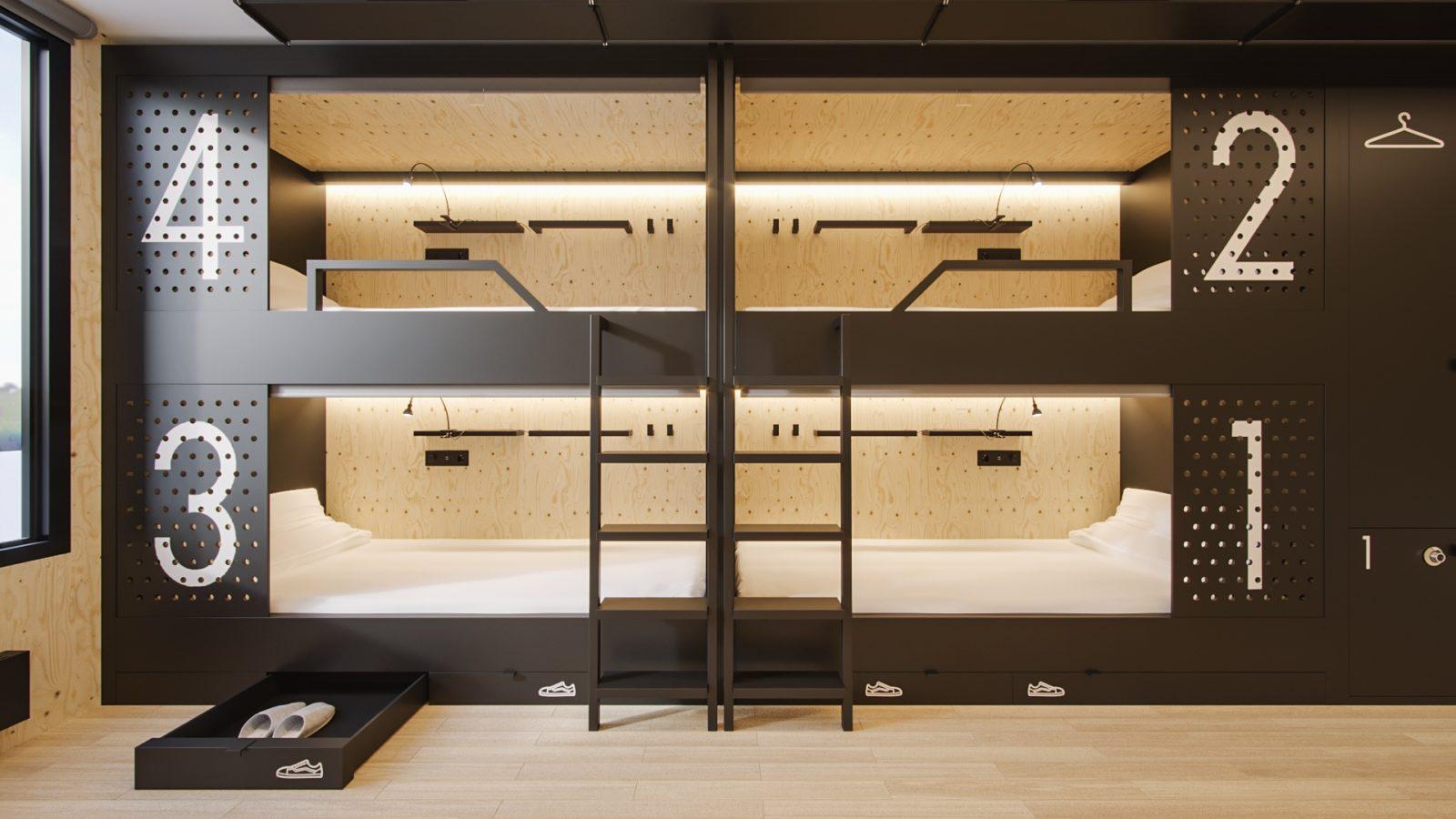 Спальный модуль для хостела «Hostainers»